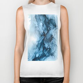 Deep Blue Flowing Water Abstract Painting Biker Tank
