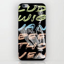 Ludwig van Beethoven in neon typography iPhone Skin
