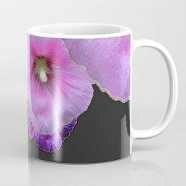 ASYMMETRICAL  PINK-PURPLE  HOLLYHOCKS ON DARK CHARCOAL GREY ART Coffee Mug