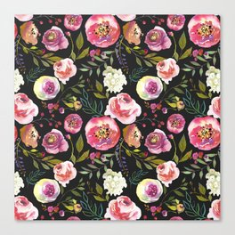 black and pink floral Canvas Print