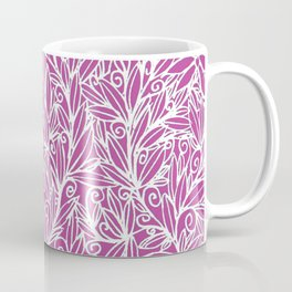 Heart of Leaves white on pink Coffee Mug