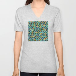 Glitter Blues, Greens, and Gold Mermaid Scales Pattern Unisex V-Neck