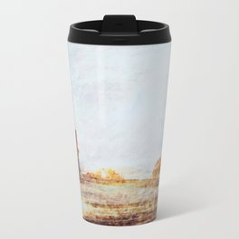 Scratched - photograph of a belvedere in a mountain top Travel Mug
