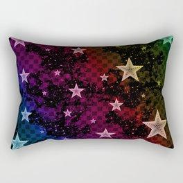 Rainbow Neon Stars Rectangular Pillow