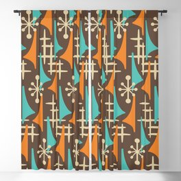 Mid Century Modern Atomic Wing Composition 235 Brown Orange and Turquoise Blackout Curtain