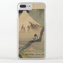 Boy Viewing Mount Fuji by Katsushika Hokusai Clear iPhone Case