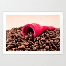 Red horn on coffee 2 Art Print
