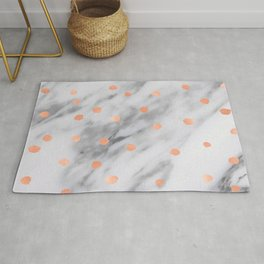 Rose Gold Pink Dots Marble Pattern Rug