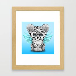 Snow Leopard Cub Fairy Wearing Glasses on Blue Framed Art Print