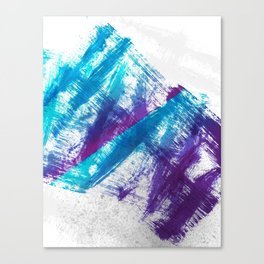 Cerulean Blue and Purple 90s Brush Abstract Canvas Print