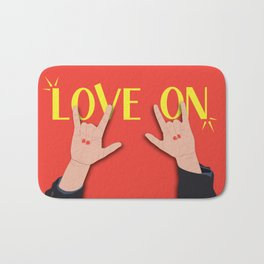 Love On Sign (I Love You) Language Hands - Red and Yellow Colorway Bath Mat
