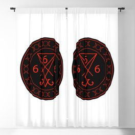 666- the number of the beast with the sigil of Lucifer symbol Blackout Curtain