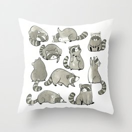 Delightfully Blobby Raccoons Throw Pillow