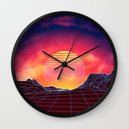 Sunset vaporwave landscape with mountains Wall Clock
