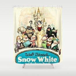 1937 Snow White And The Seven Dwarfs Original Film Movie Poster Shower Curtain
