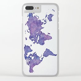 Purple World Map 02 Clear iPhone Case