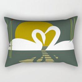 Swans at Sunset Rectangular Pillow