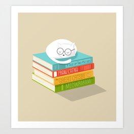 The Cat Loves Books Art Print