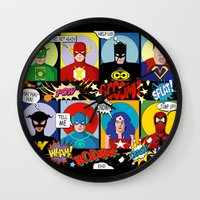 superheroes Wall Clocks featuring Superheroes by Chicca Besso