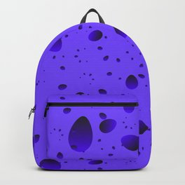 Large blueberry drops and petals on a light background in nacre. Backpack