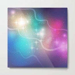 Nebula Waves and Stars Pattern Metal Print