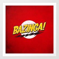 bazinga Art Prints featuring Bazinga Flash by Nxolab