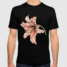 Pink Lily Flower Watercolor Mens Fitted Tee MEDIUM Black