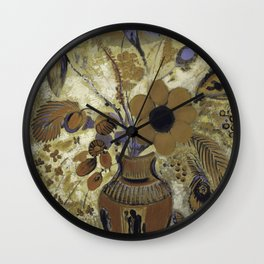 Etruscan Vase with Flowers - Odilon Redon Wall Clock