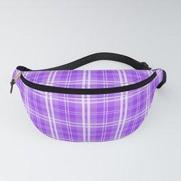 Bright Neon Purple White Tartan Plaid Check Fanny Pack