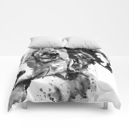 Black and White Half Faced Border Collie Comforters