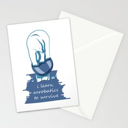 Poor Polar Bear Learn Acrobatics to Survive on small iceberg Stationery Cards