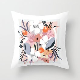In amongst the fowers boho Heron floral garden print Throw Pillow