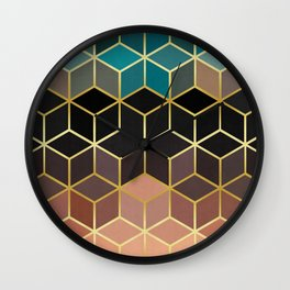 Pattern of squares with gold II Wall Clock
