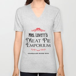 Mrs. Lovett's Meat Pie Emporium (Sweeney Todd) Unisex V-Neck