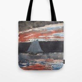 Schooner at Sunset Tote Bag
