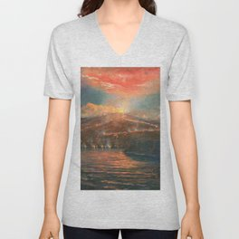 Hawaiian Volcanic Eruption by the Sea at Night landscape painting by Charles Furneaux Unisex V-Neck