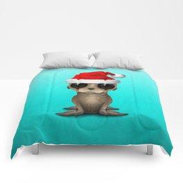 Christmas Sea Lion Wearing a Santa Hat Comforters