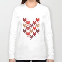 foxes Long Sleeve T-shirts featuring Foxes  by creaziz
