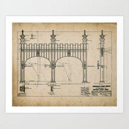 Pittsburgh Bridge Wall Art, 1914 Blueprint, Pittsburgh History & Architecture Art Print