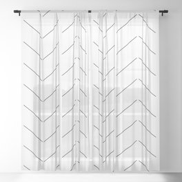 LINEd_HerringboneFew_BW Sheer Curtain