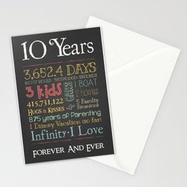 10 Years Stationery Cards