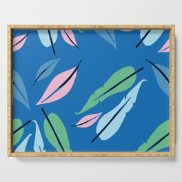 feather on blue Serving Tray