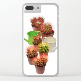 Bunch of multicolor cactuses and watering cans Clear iPhone Case