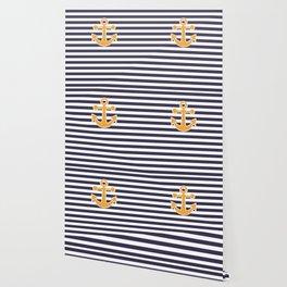 Blue , white , striped Wallpaper
