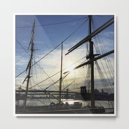 Sunrise on Old Sailing Ships on East River (Instagram) Metal Print