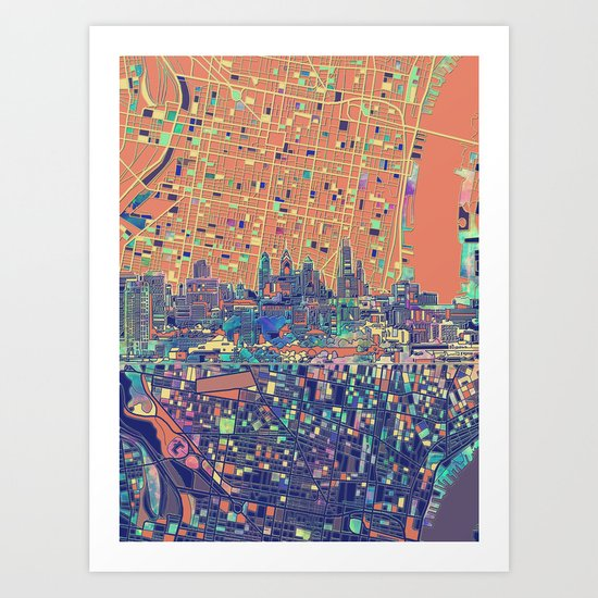 philadelphia city skyline map Art Print