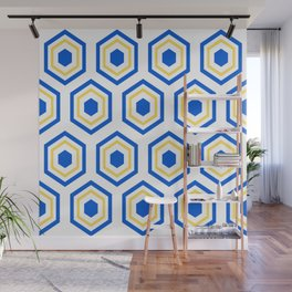 The Hive - Blue-Yellow-Blue Hexagons on White Background Wall Mural