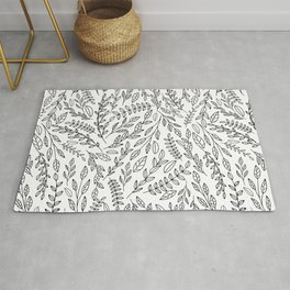 Simple Black And White Outline Botanical Leaves Toss Pattern Rug