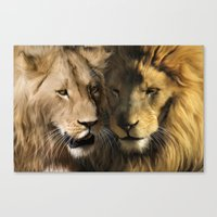 lions Canvas Prints featuring Lions by Julie Hoddinott