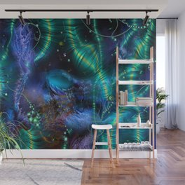 Cosmic Abstract Emerald Wall Mural